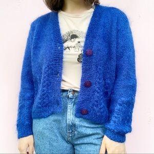 Vintage 80s Royal Blue Button Down Cardigan Size L